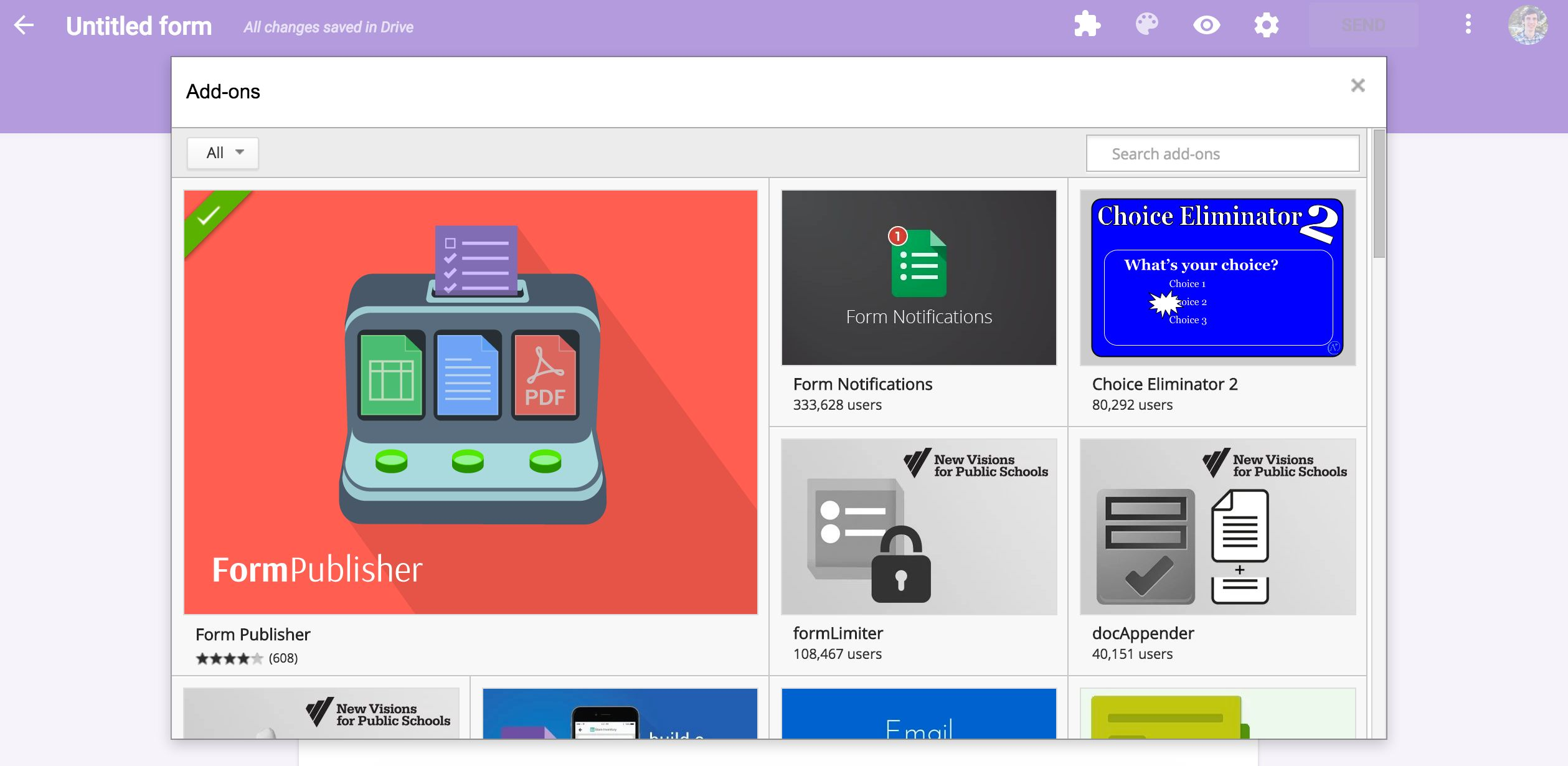 Google Forms add-ons