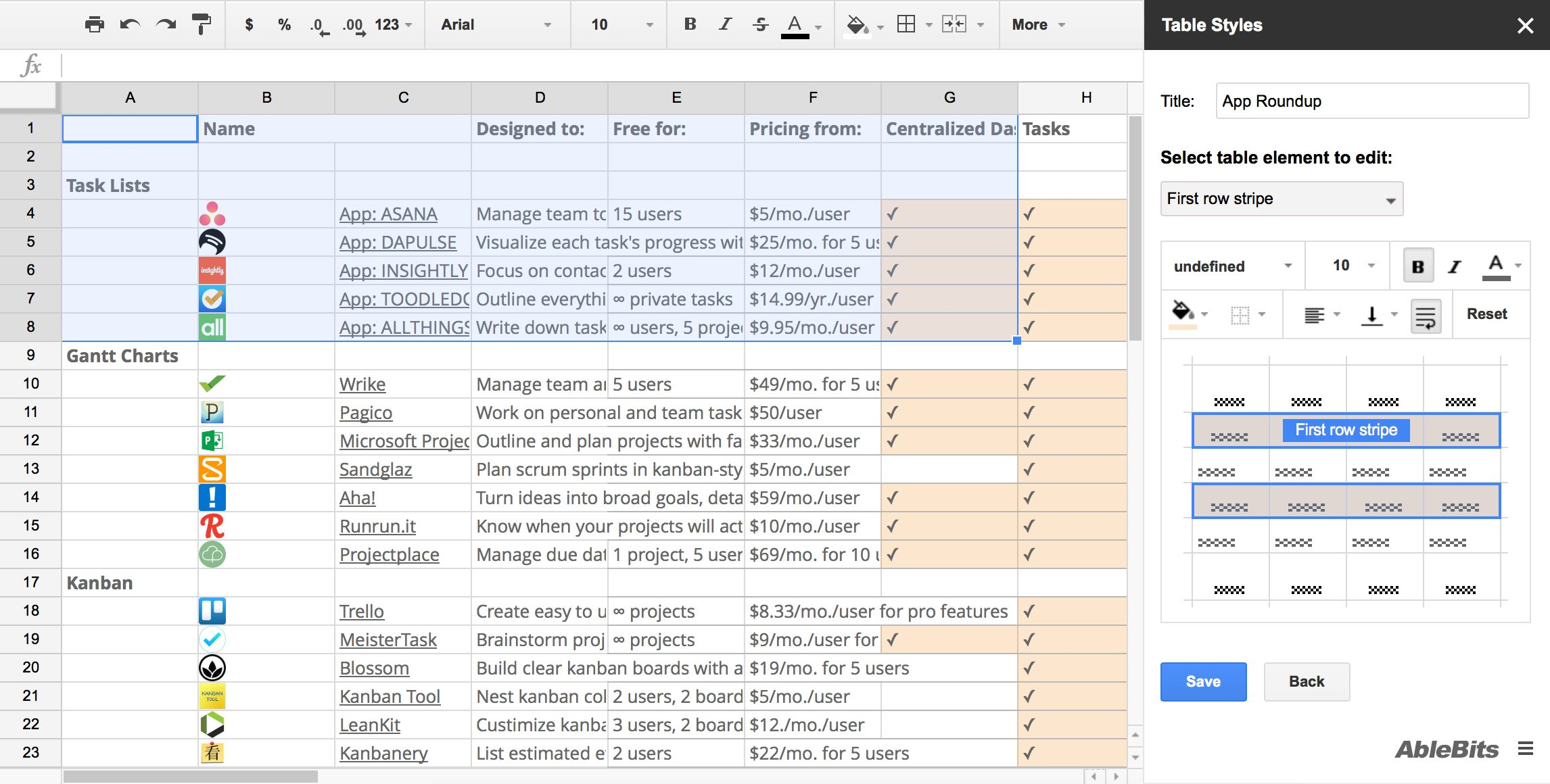 Google Sheets Table Styles
