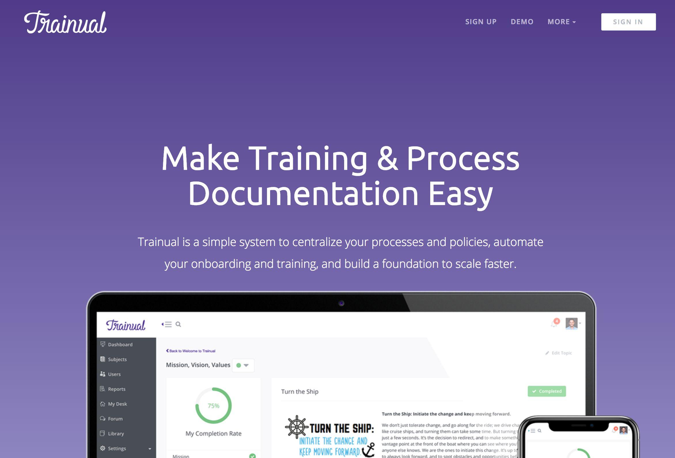 Trainual home page