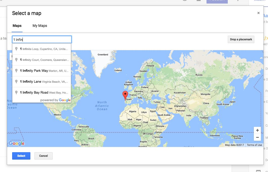 embed map in Google Sites