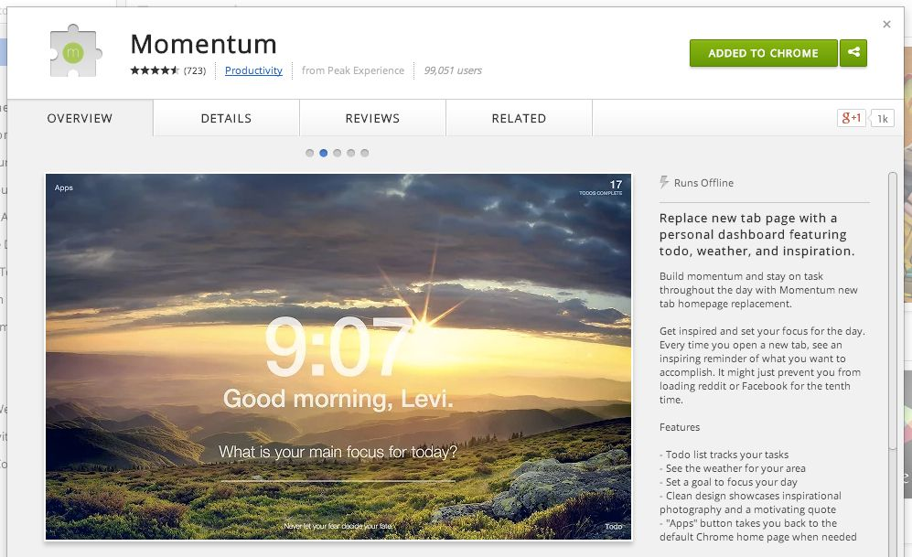 The Momentum app in the Chrome store