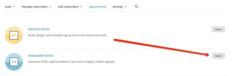 MailChimp embedded signup form set up