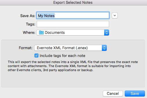 Export Evernote notes