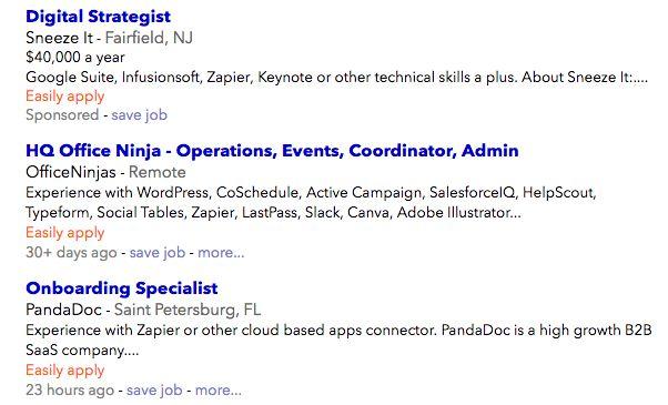 job listings requiring Zapier knowledge