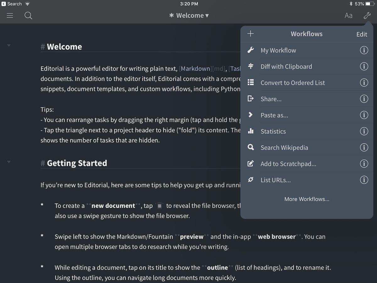 Editorially iPad