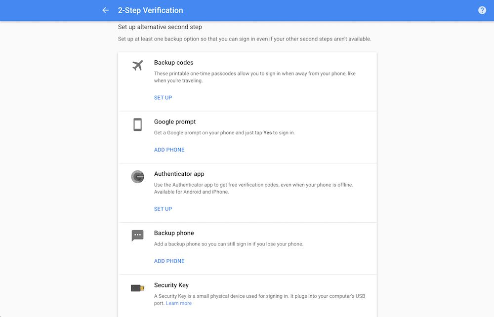 Add other two-factor authentication to Google