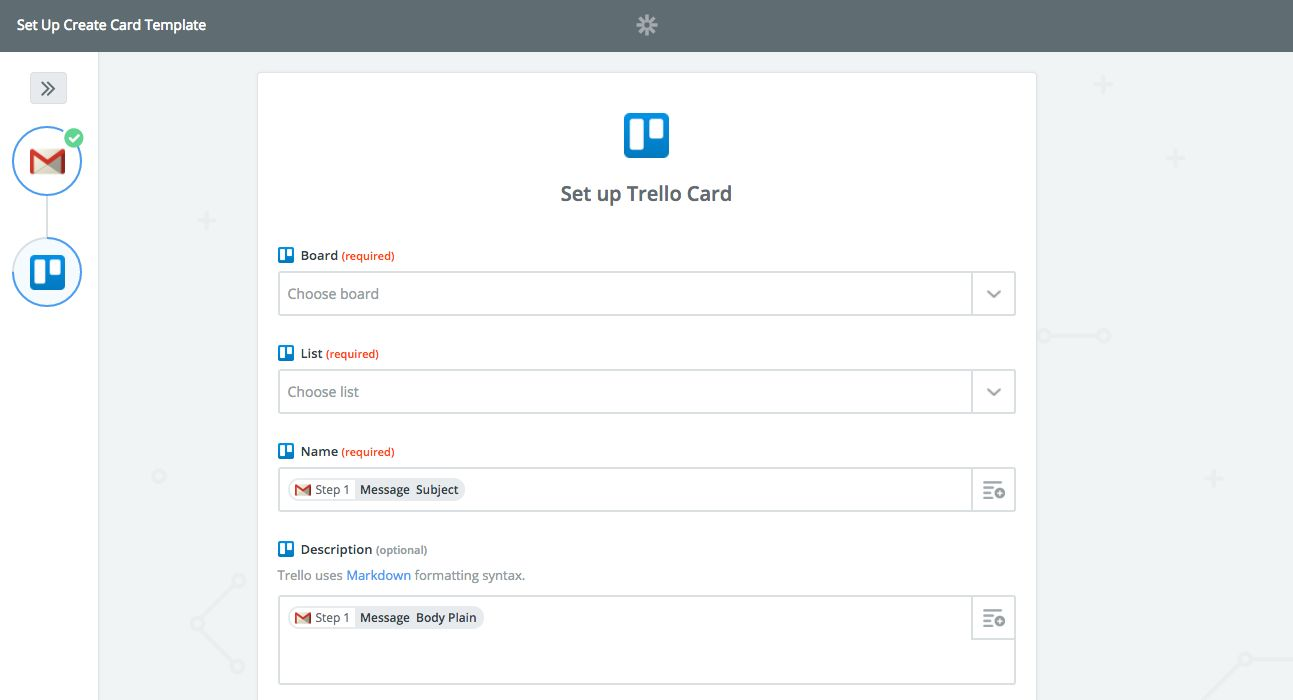 Trello Gmail Zapier workflow