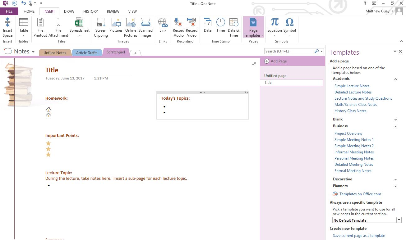 Add OneNote Template