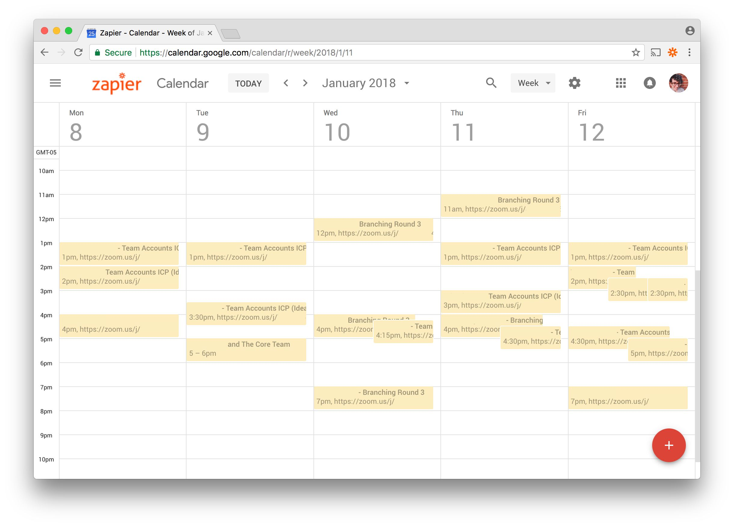 UX Research shared Google Calendar
