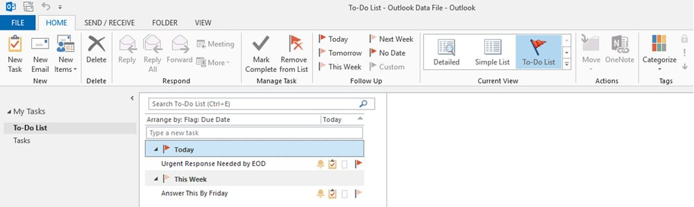 Microsoft Outlook task list