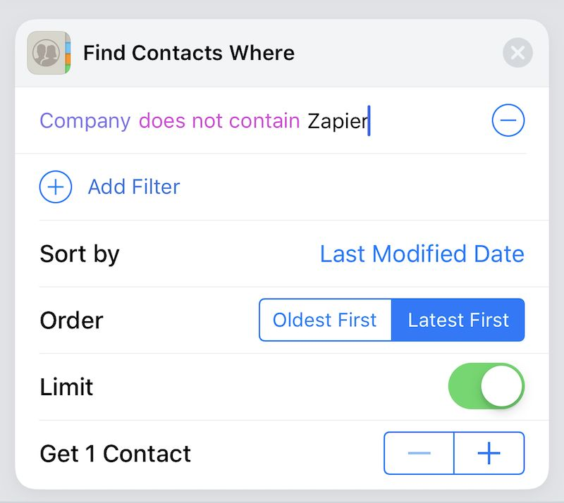 Siri Shortcuts Get Contact