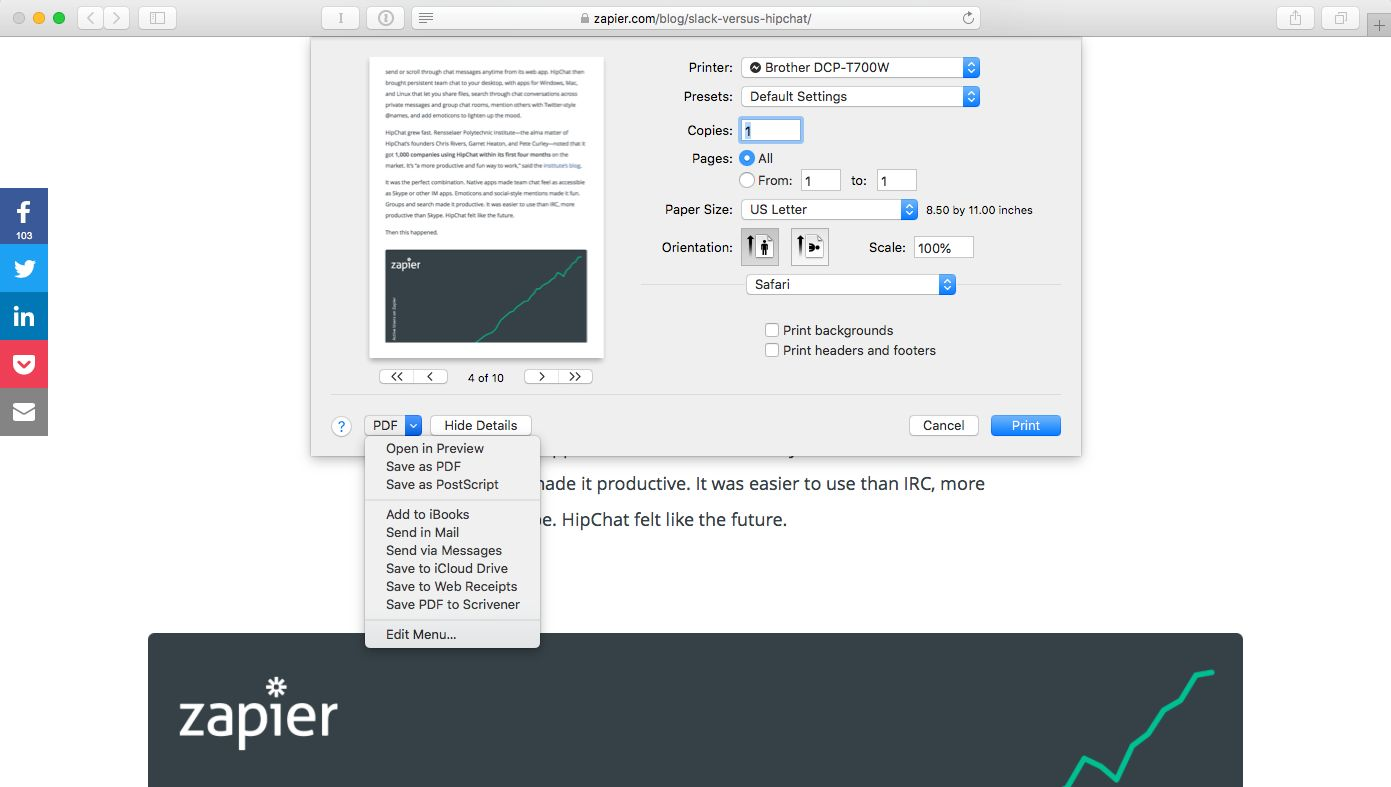 PDF options macOS