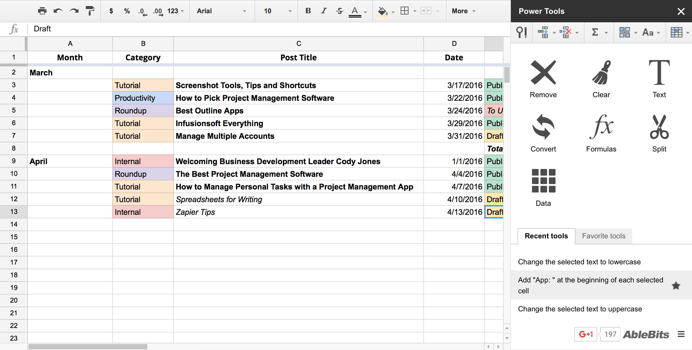 Power Tools in Google Sheets