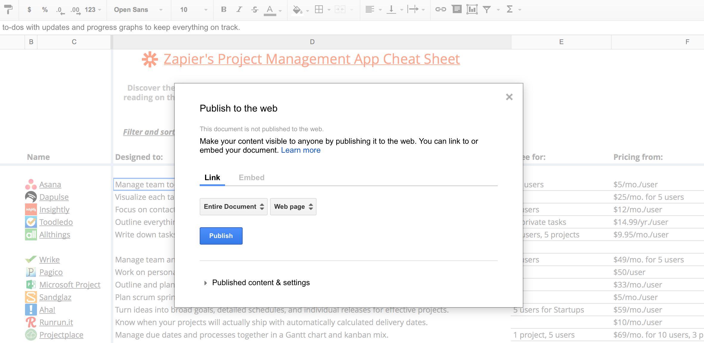 Publish Google Sheets Spreadsheet
