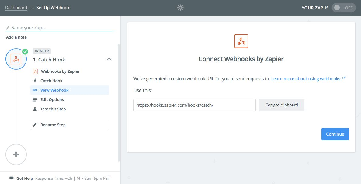 Make a Webhook Zap in Zapier