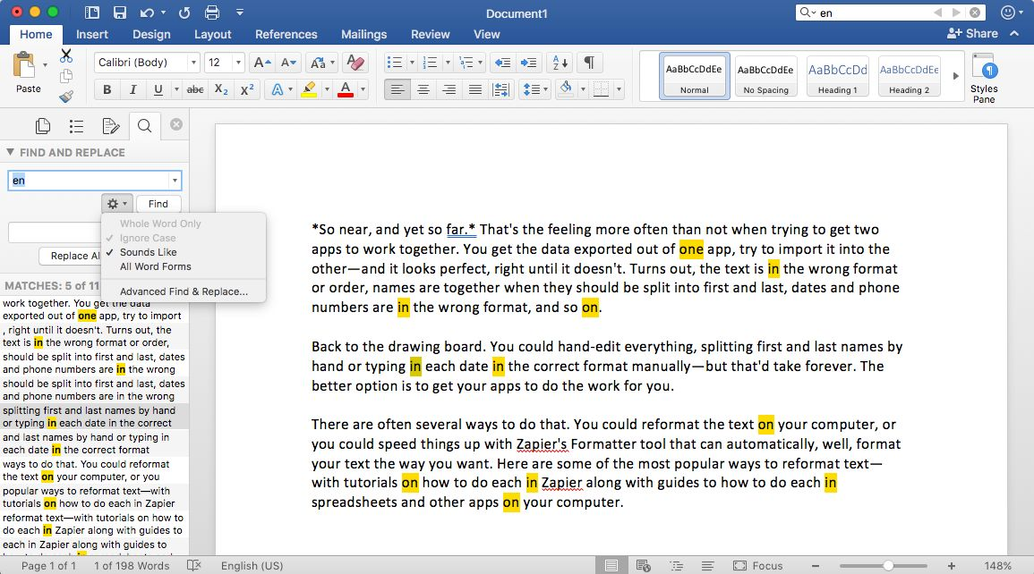 Find and replace in Microsoft Word
