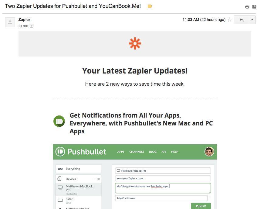 Zapier Updates email
