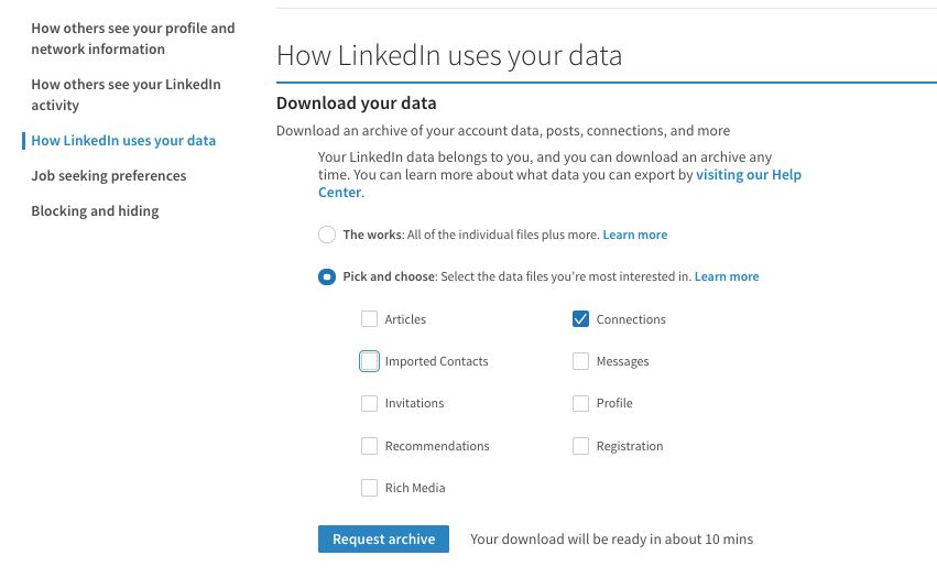 How LinkedIn uses your data, choose who you want to export.