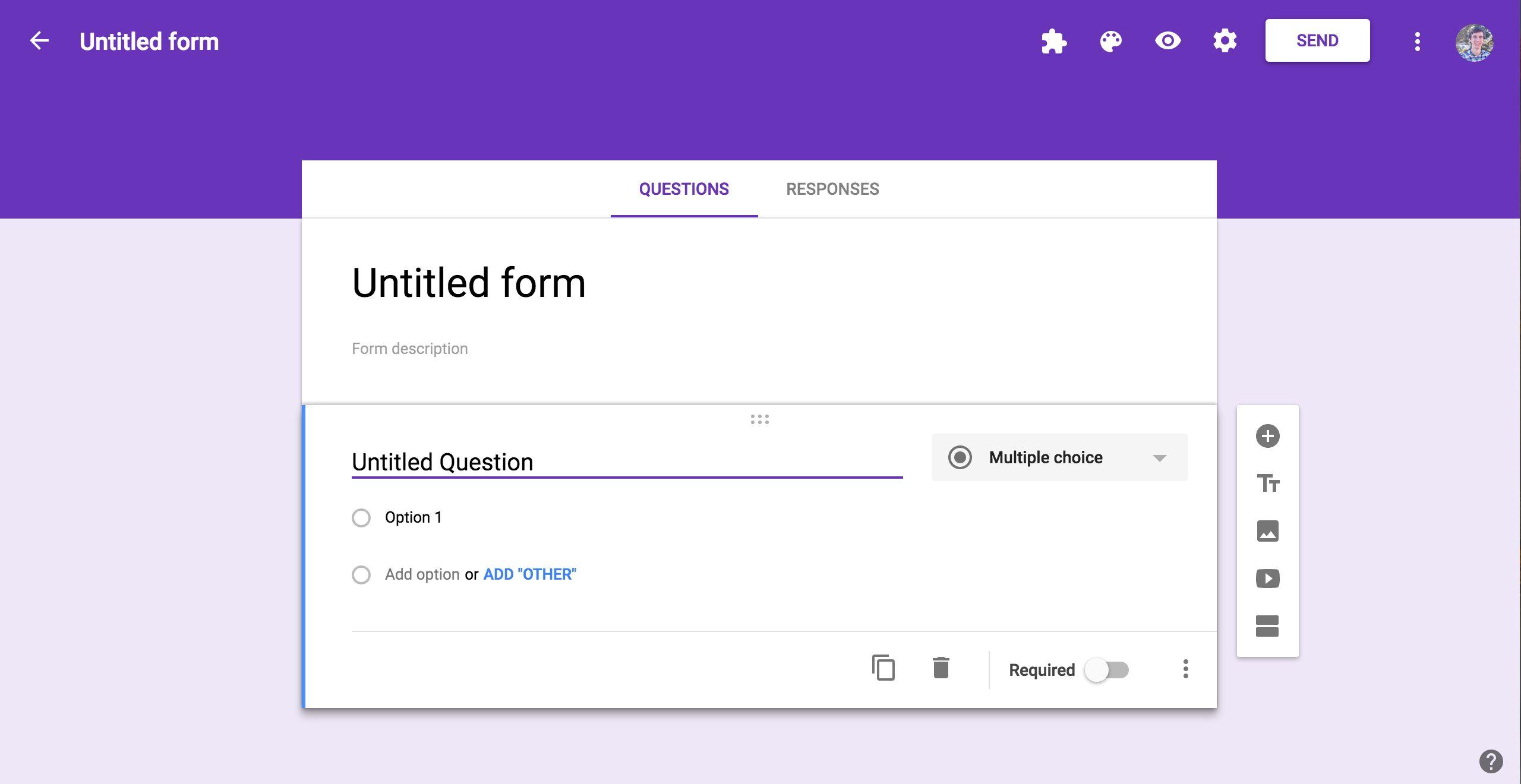 Google Forms Editor