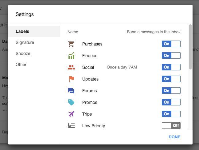 Google Inbox Bundles
