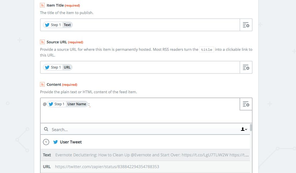 Add details to Twitter RSS feed