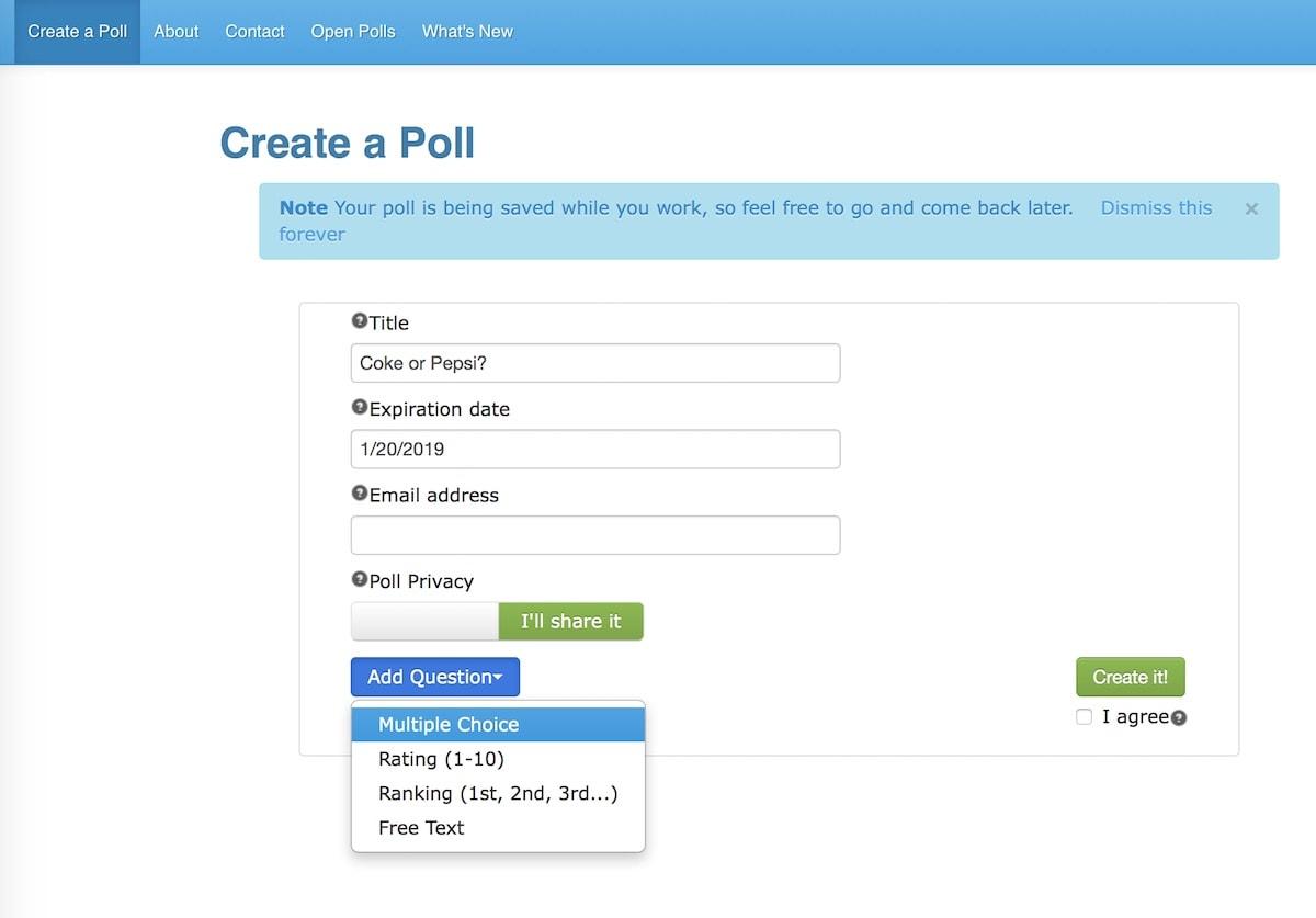create a poll - Falco ifreezer co