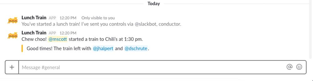 LunchTrain Slack app screenshot
