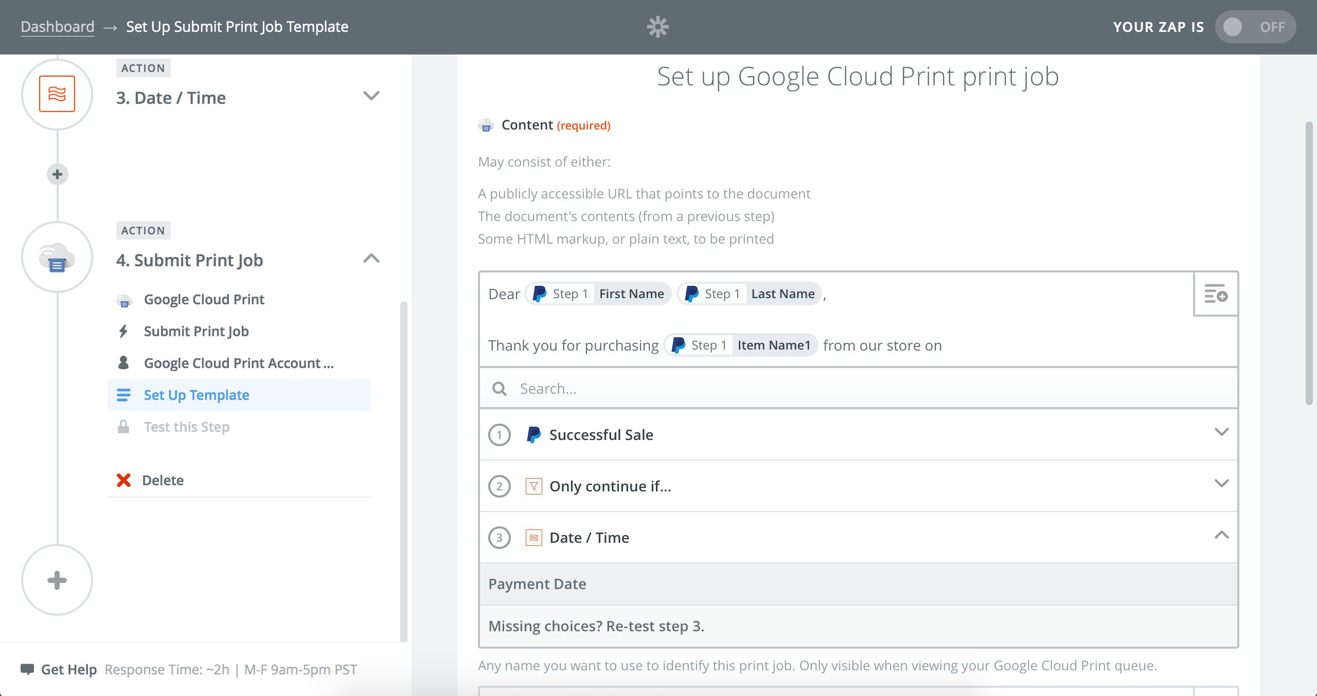Google Cloud Print Zap