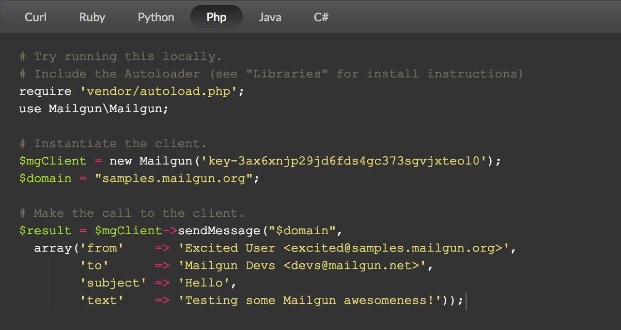 Mailgun sample code