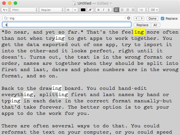 Find and replace in TextEdit on macOS