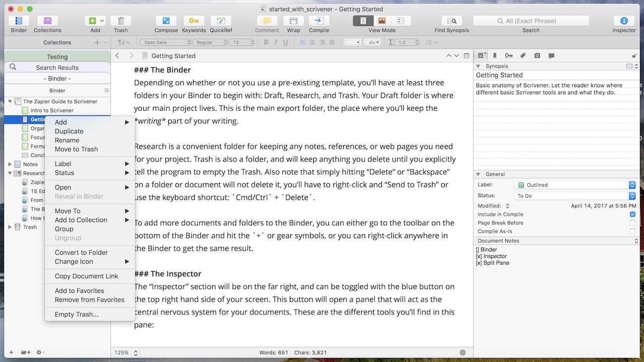 Scrivener Organize