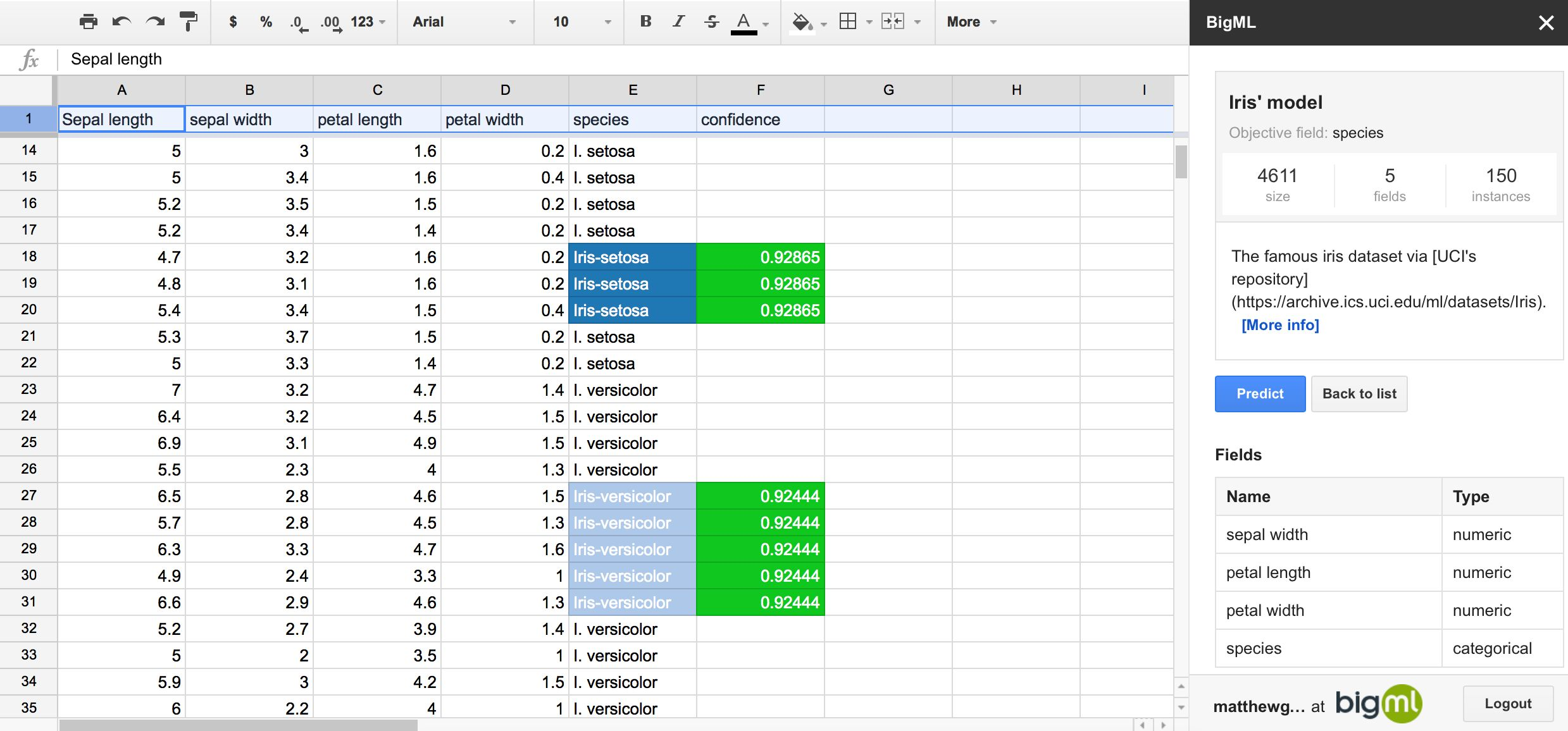 BigML in Google Sheets