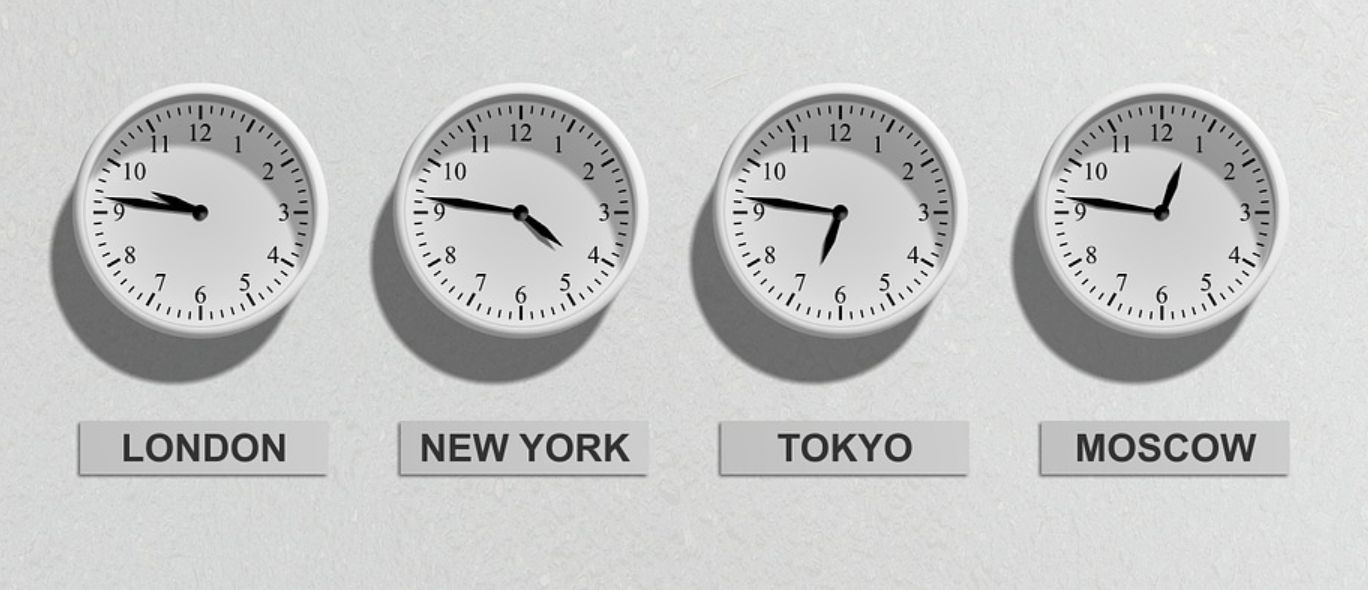 Clocks from various time zones