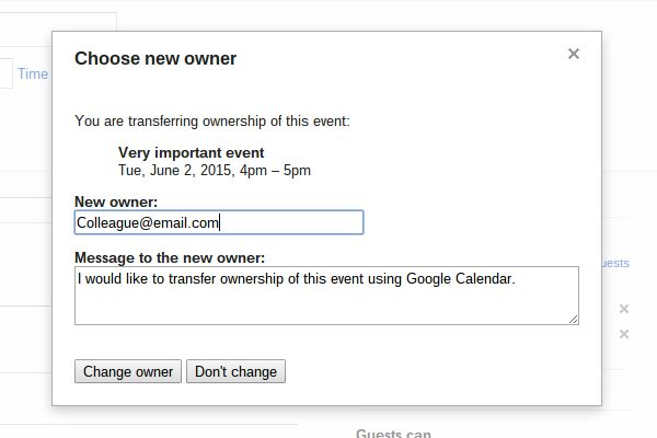 change google calendar event ownership