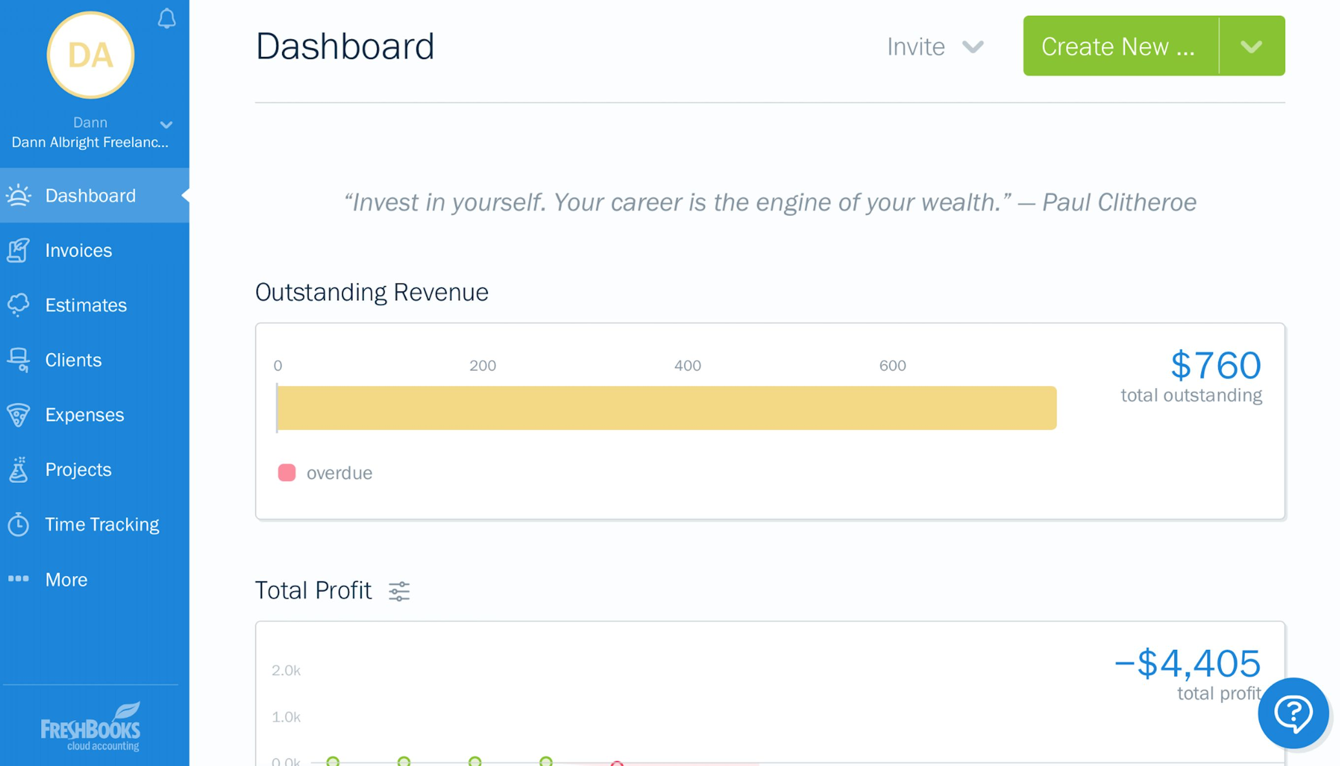 FreshBooks dashboard screenshot