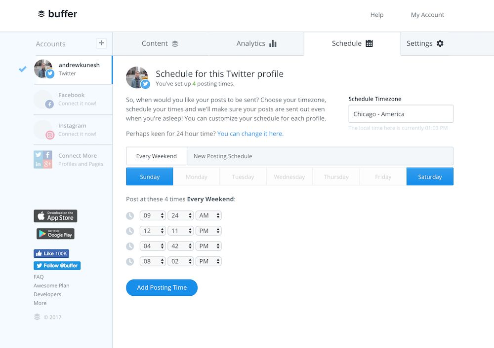 Schedule social media status updates with Buffer