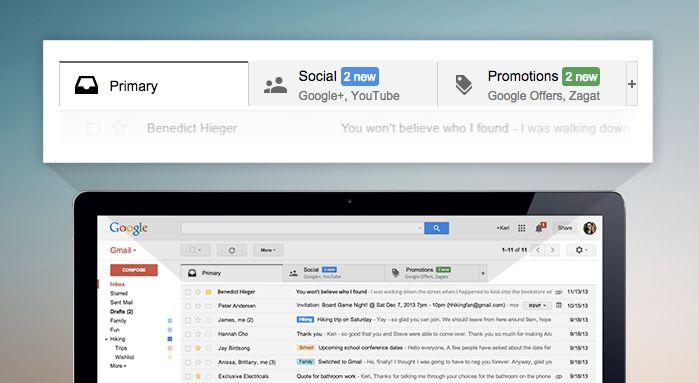 Gmail categories screenshot