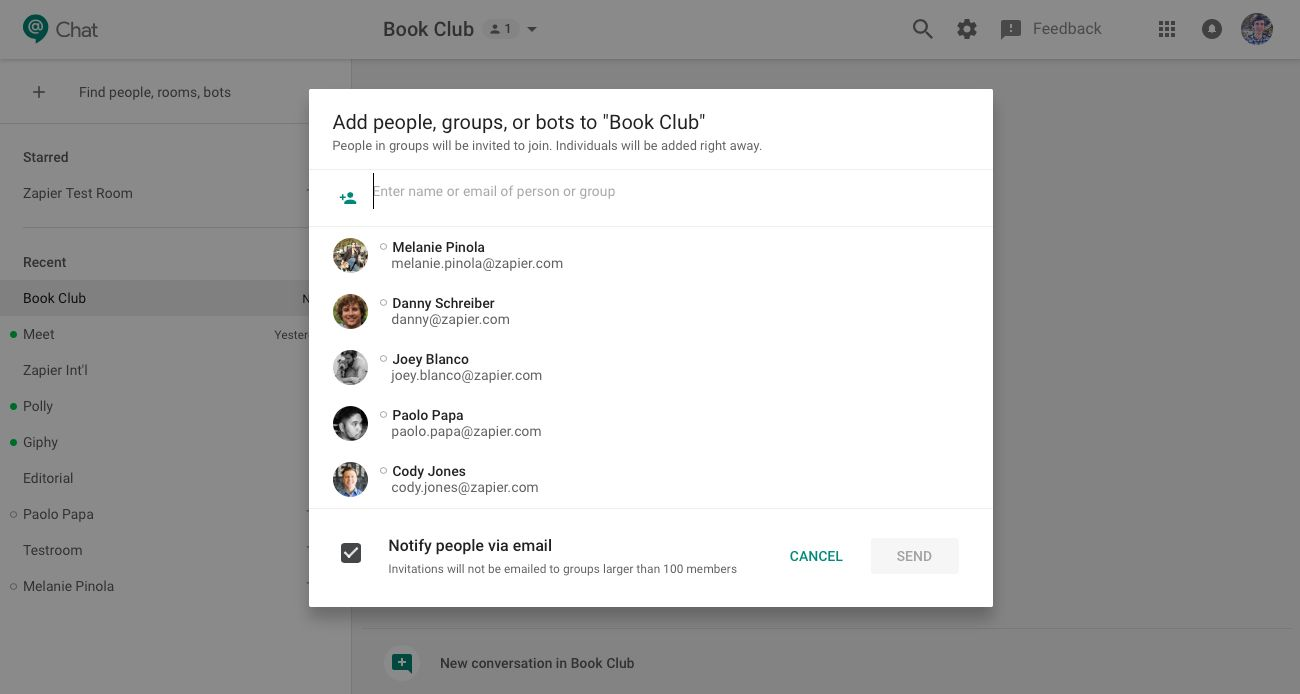 Add people to Hangouts Chat room