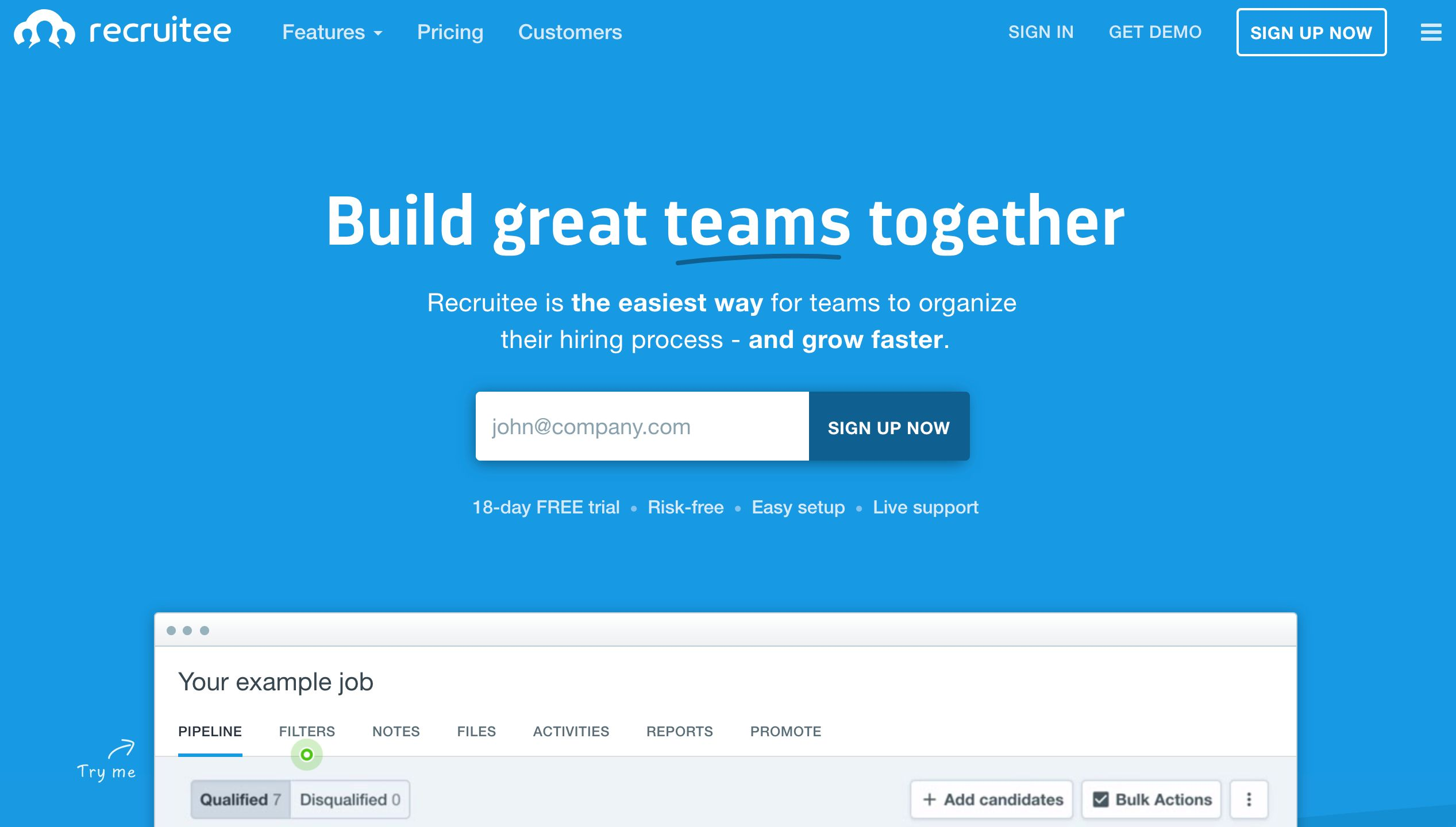 Recruitee home page