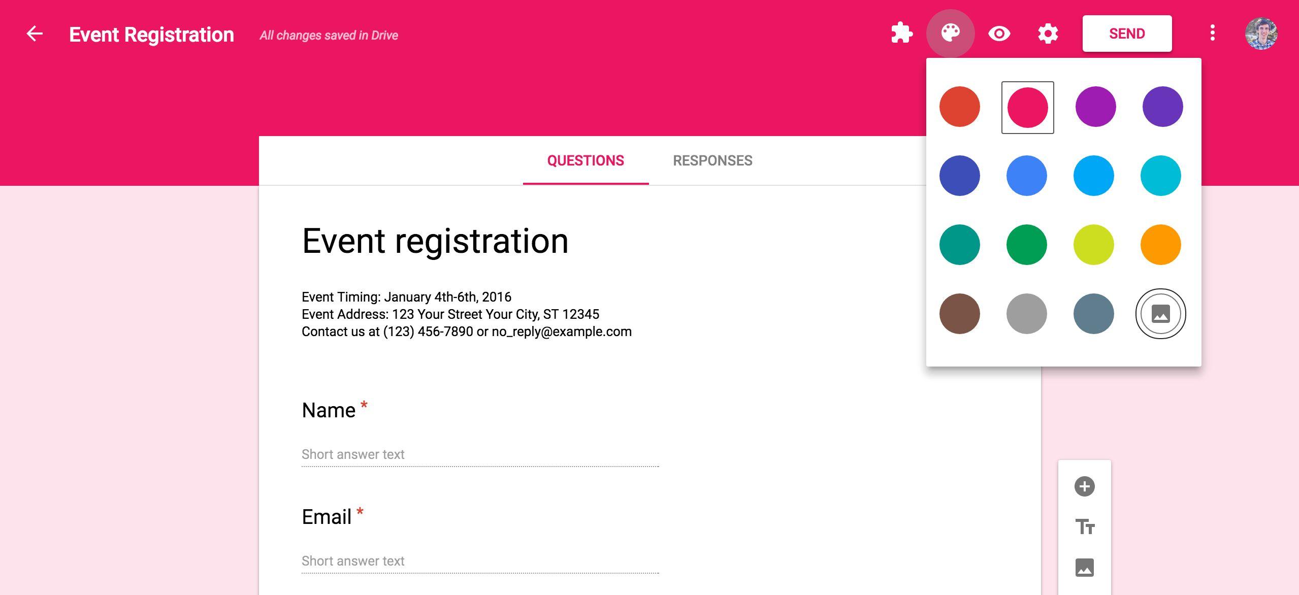 Google Forms design options