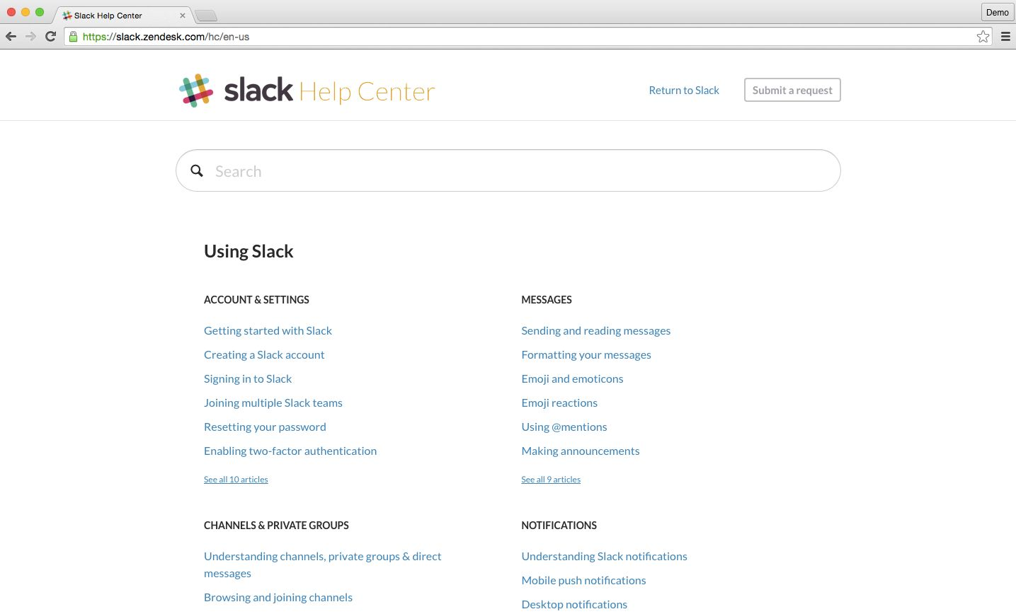 Slack help documentation
