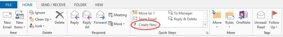Microsoft Outlook quick steps feature