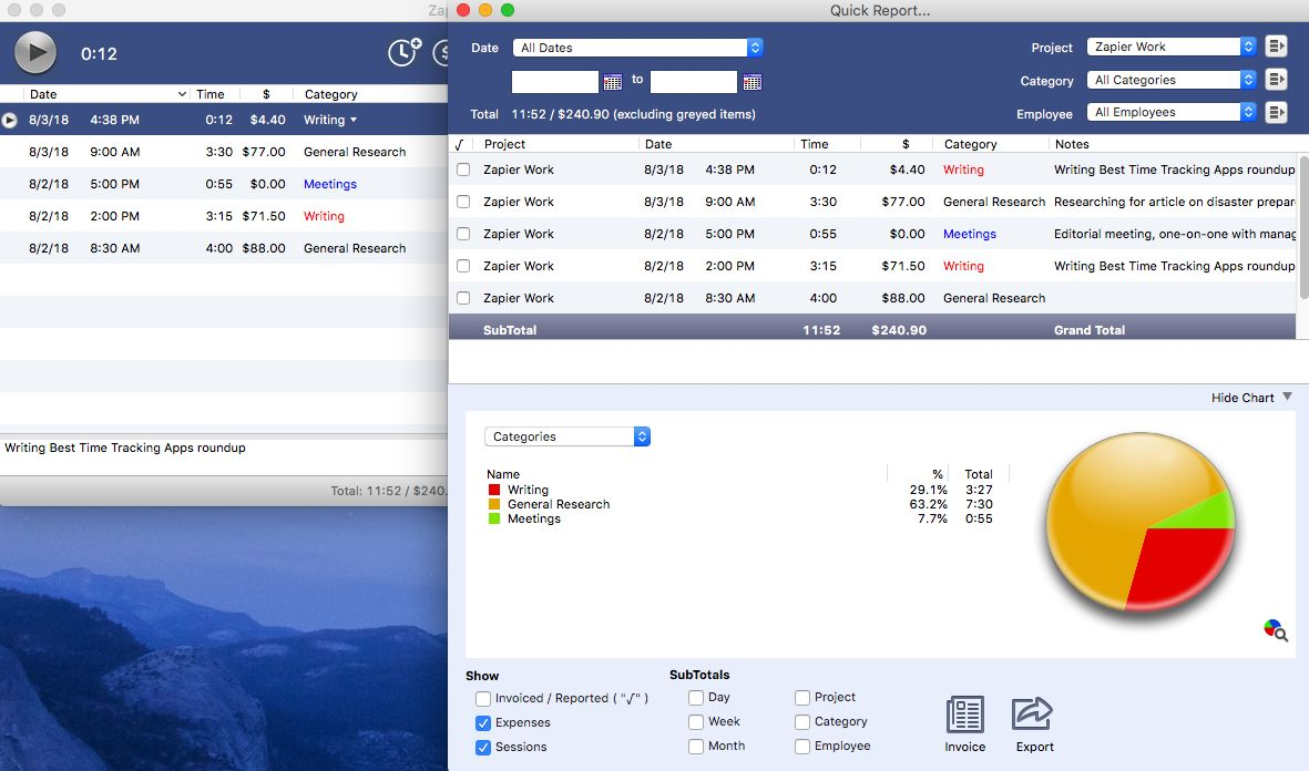 OfficeTime downloadable time tracking software