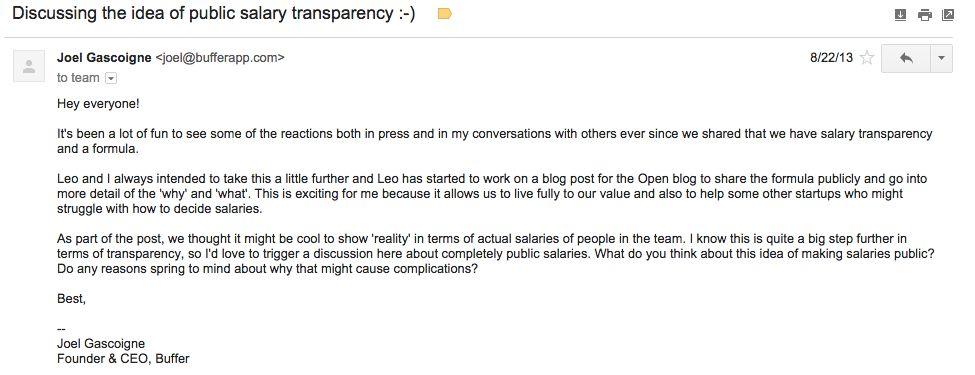 Buffer transparent salary email