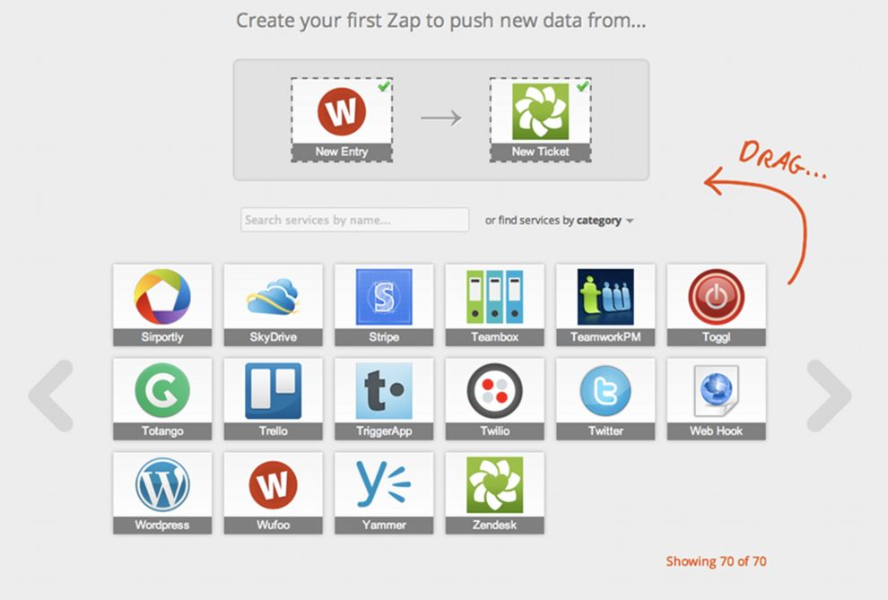 One of the early designs for Zapier's editor