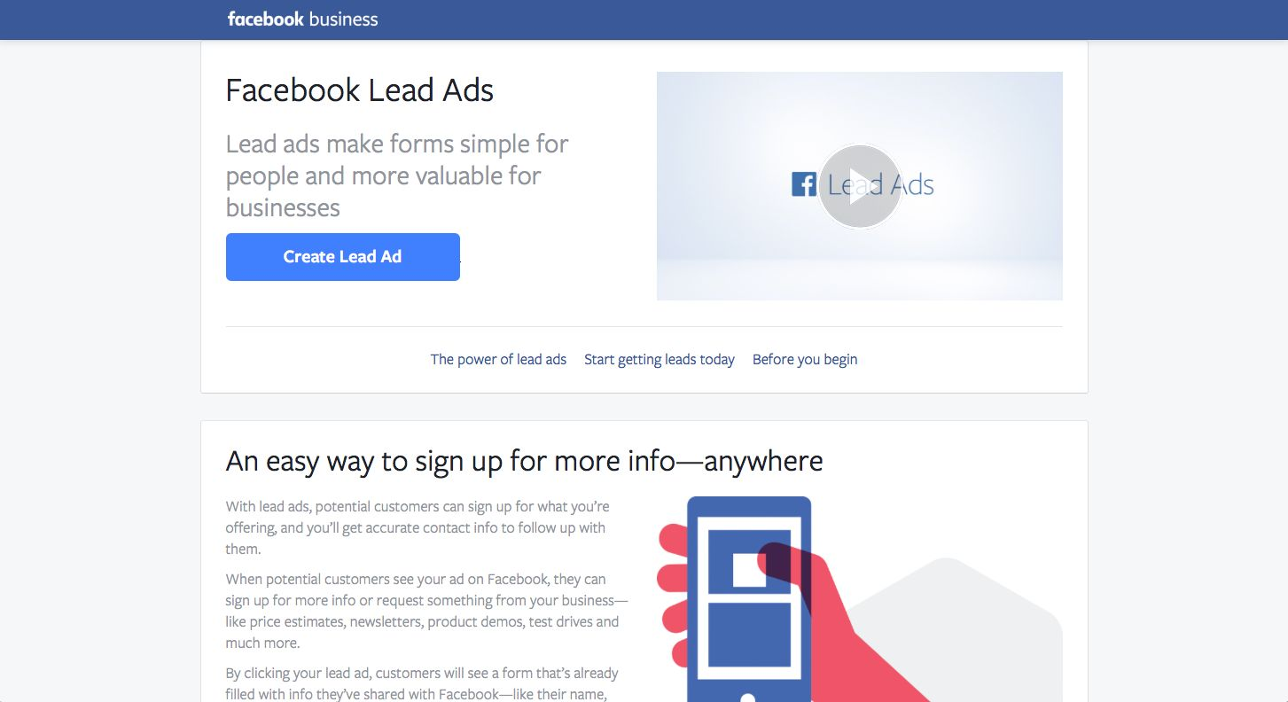 Facebook Lead Ads Screenshot