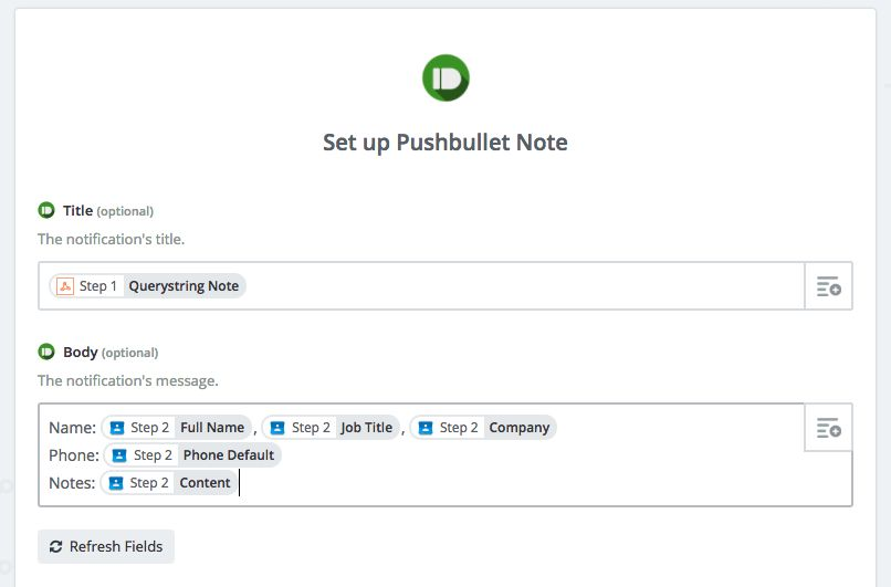 Pushbullet for Zapier