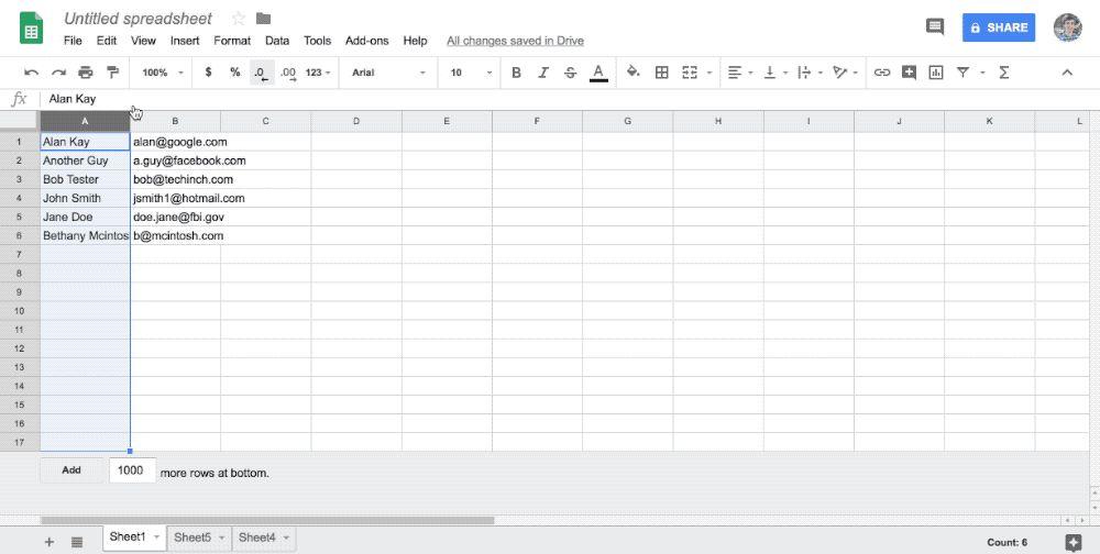 Google Sheets Macro Gif