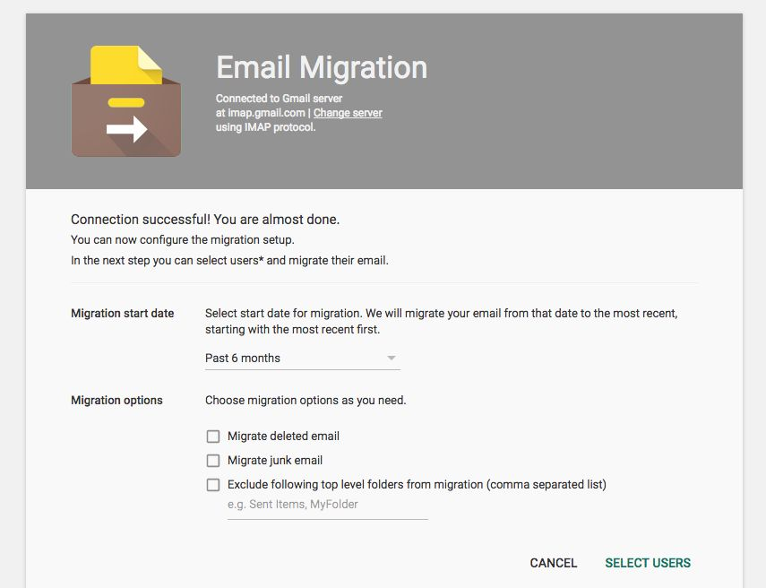 Set migration start day G Suite