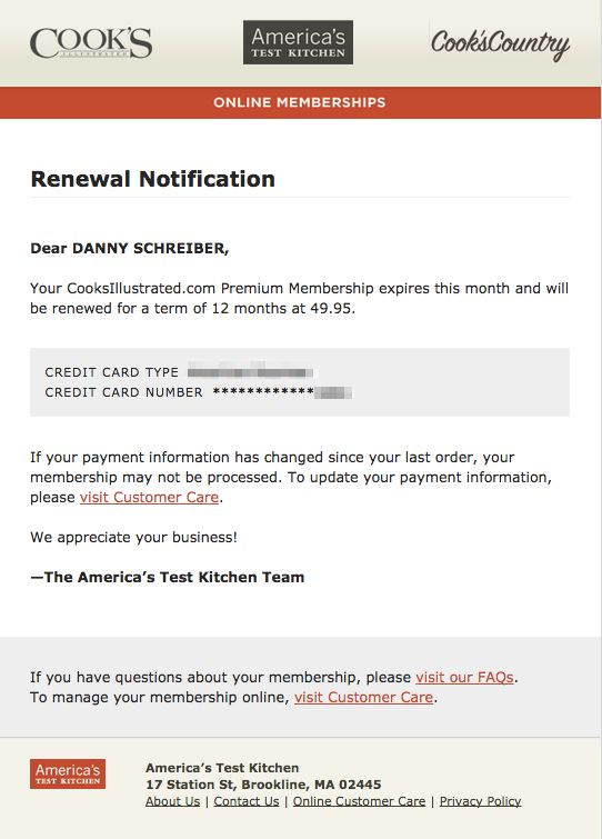 cooks renew email